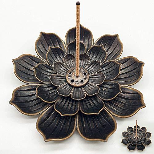 Räucherstäbchenhalter Legierung Lotus Ash Catcher Kupfer Weihrauchbehälter Set, Räucherstäbchen in Lotus-Form, Lotus Censer Stick Incense Holder (Bronze)