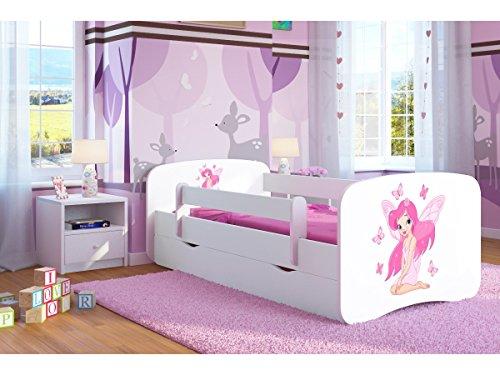 Kinderbett Jugendbett 70x140 80x160 80x180 Weiß mit Rausfallschutz Schublade und Lattenrost Kinderbetten für Mädchen und Junge - Fee mit Schmetterlingen 140 cm