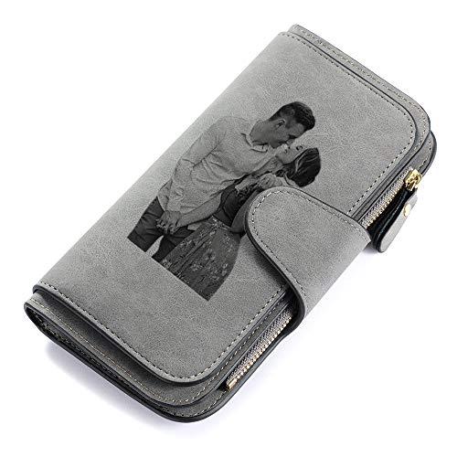 Jewelora Geldbörse Damen Geldbörsen für Frauen Personalisierte Damen Leder Geldbörse mit Fotodruck und Gravur Lange Mode Geldbörse Geschenk für Frau Mutter Tochter (#1Dark Gray)