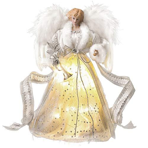 Valery Madelyn Weihnachtsbaumspitze 30cm Engel mit Feder Flügeln aus Stoff Christbaumspitze batteriebetriebe 10 Warmgelb LEDs beleuchtete Baum-Spitzenengel Figur Silber Weiß MEHRWEG Verpackung