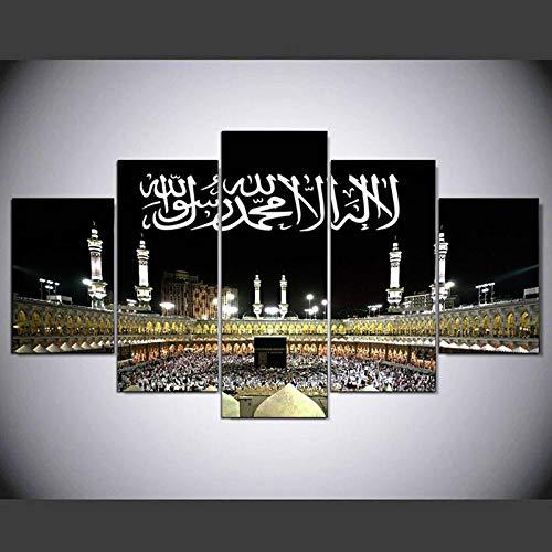 BAIOKAISHUII Plakatwandkunst Moderne Hauptdekoration 5 Stück islamisches muslimisches Wohnzimmer Leinwand HD-Druck Modulare Bilder Malerei-Rahmenlos