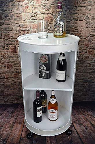 Livitat Regal Beistelltisch Ölfass Tonne H80 cm Industrie Look Loft Vintage Retro Weiß LV5025