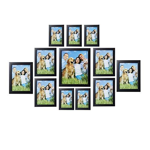 Relaxdays Bilderrahmen 12er Set, enthält versch. Größen: 15x10, 18x13, 20x15, 25x20 cm, Foto Collage für Wand, schwarz