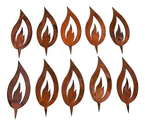 Rostikal 10 er Set Rost Deko Flamme Edelrost 10 cm hoch Rostige Weihnachtsdeko Kerze Advent Kerzenflamme zum stecken Rostoptik