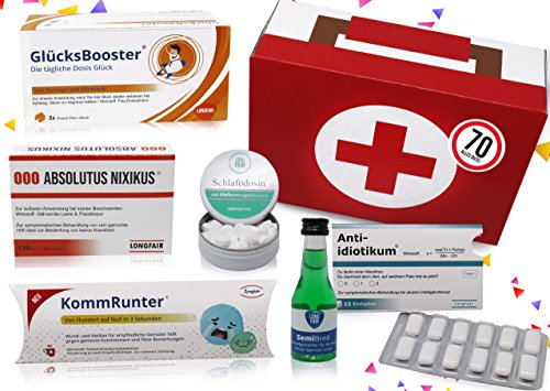 70. Geburtstag | Erste Hilfe Set Geschenk-Box, witziger Sanikasten | 8-teilig | Spaßgeschenk zum 70. Geburtstag