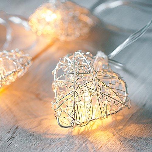 10er LED Lichterkette silberne Herzen batteriebetrieben Lights4fun
