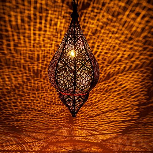 Orientalische Lampe Pendelleuchte Schwarz Kihana 40cm E14 Lampenfassung | Marokkanische Design Hängeleuchte Leuchte aus Marokko | Orient Lampen für Wohnzimmer Küche oder Hängend über den Esstisch