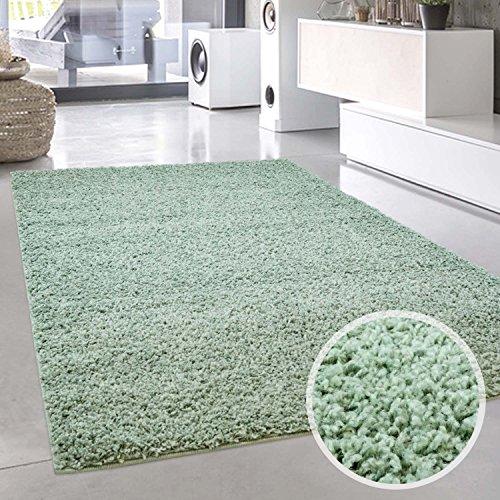 carpet city Shaggy Teppich Hochflor Langflor Pastell Einfarbig Modern Mintgrün Wohnzimmer; Größe: 200x200 cm Quadratisch