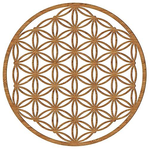 Blume des Lebens Holz 39/49 cm 7 Farben Wand-Bild-Dekoration Spirituelles Symbol Esoterik Geschenk Heilige Geometrie Wanddeko Holzdeko braun Bild Feng Shui