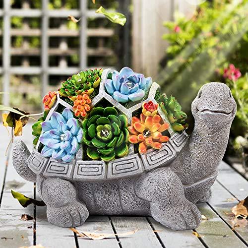 HANGOU Gartenstatuen Schildkröte Ornamente Deko Gartenfigur mit LED solarbetriebenen Lichtern Dekorationen für den Garten, Terrasse, Vorgarten, Rasen