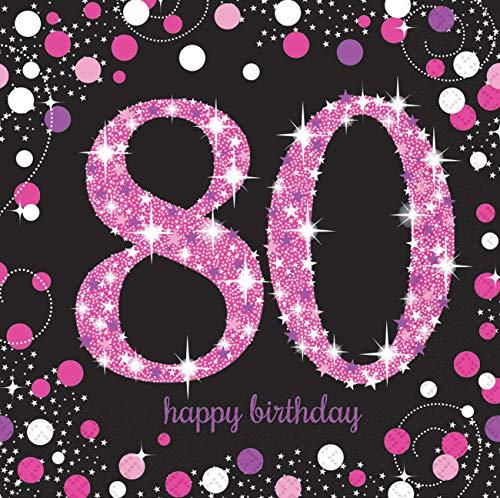 Amscan 9901753 - Servietten 80. Geburtstag, 16 Stück, 33 x 33 cm, Happy Birthday, Sparkling Celebration