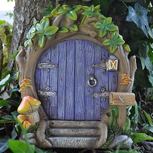 Fairy Garden UK, Waldfeen-Tür, lila, groß, magisch, Gartendeko für Elfen, Heinzelmännchen, Feen, Höhe 17 cm