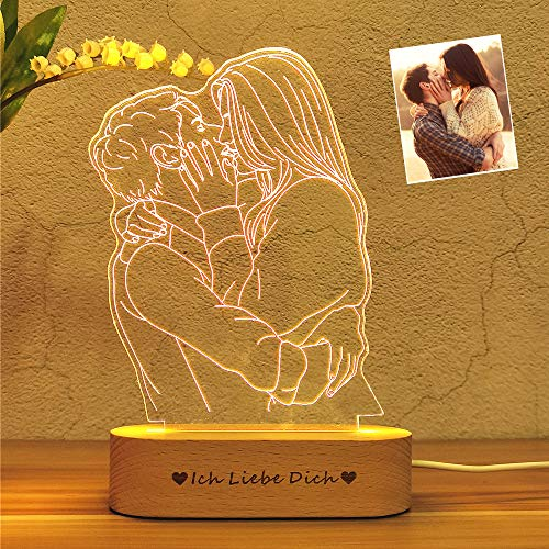 Personalisierte benutzerdefinierte Foto 3D Lampe Foto Gravur benutzerdefinierte Text 3D Nachtlicht mit Ihrem eigenen Bild & Text für Kinder Weihnachten besten Geschenke (Foto von zwei Personen)