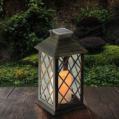 Solar Laterne, Tomshine Solarlaterne mit Kerzen Lichteffekt, Solarlampe für Außen Gartendeko Solar Gartenlaterne in Kerzenoptik