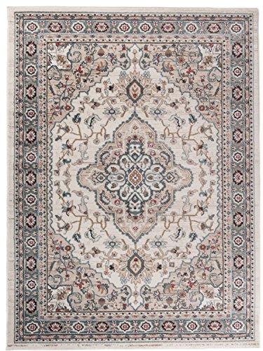 Traditioneller Klassischer Teppich für Ihre Wohnzimmer - Grau Beige Creme - Perser Orientalisches Heriz Keshan Muster - Blumen Ornamente - Top Qualität Pflegeleicht ' AYLA ' 200 x 300 cm Groß