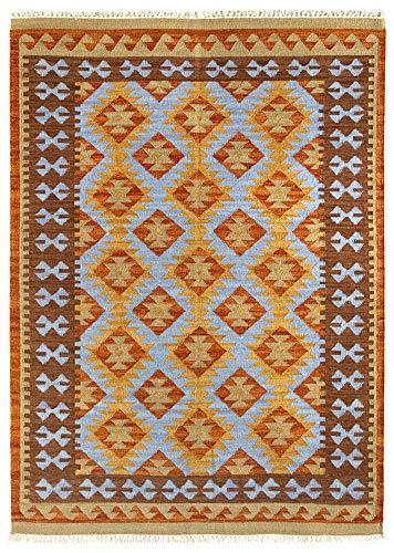 HAMID - Kelim Teppich Lori mit Geometrischem Oriental Design - 100% Wolle - Handgeknüpfter Kelim - Flurteppich, Wohnzimmer, Schlafzimmer, Wohnzimmer (D.3, 110x60cm)