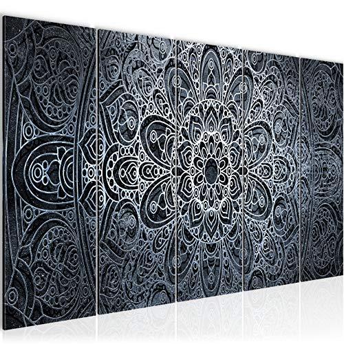 Bilder Mandala Abstrakt Wandbild 200 x 80 cm Vlies - Leinwand Bild XXL Format Wandbilder Wohnzimmer Wohnung Deko Kunstdrucke Schwarz Weiß 5 Teilig - MADE IN GERMANY - Fertig zum Aufhängen 109455c