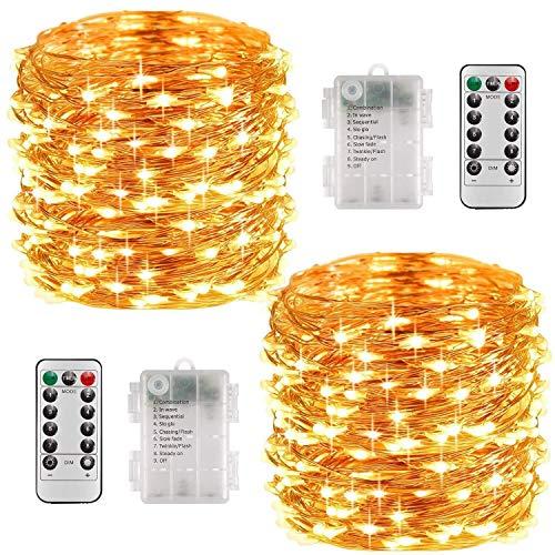 Lichterkette Batterie, 2er 10M 100 LED Lichterkette 8 Modi Außenbeleuchtung Kupferdraht Wasserdichte IP68 mit Fernbedienung und Timer für Innen/Außen Dekoration (Warmweiß) [Energieklasse A+++]