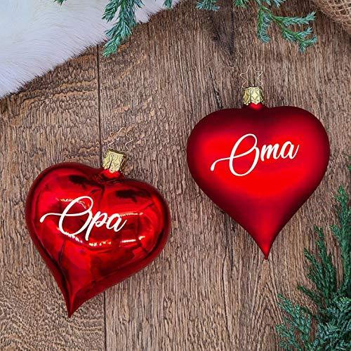 Set aus 2 roten Weihnachtskugeln in Herzform aus Glas mit weißem Text | Christbaumkugel | Weihnachtskugel personalisiert | Weihnachtsgeschenk | Baumschmuck | Ankündigung Schwangerschaft