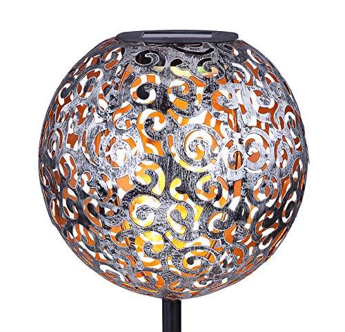 Solarleuchte Garten für Außen Deko - Gartendeko Kugel Orientalisch mit Solarlampe - Gartenlampen Solar LED mit Erdspieß - Gartenlampe Höhe 54 cm - Durchmesser 18,5 cm