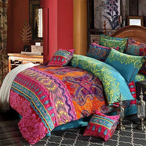 Omela Bettwäsche Boho 135x200 4teilig Exotisch Indisch Design Bohemian Bettbezüge mit Reißverschluss Hohe Qualität Mikrofaser Deckenbezug und Kissenbezüge 80x80 cm