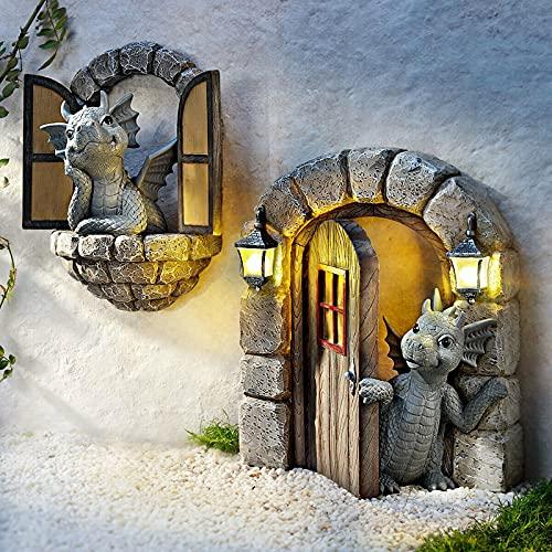Schöne Hof Drachenskulptur Gartendrachen Figuren Deko Tierfigur Gartenstatue Dekorative Handarbeit Ornament Polyresin Wetterfest Garten Drachen Figuren