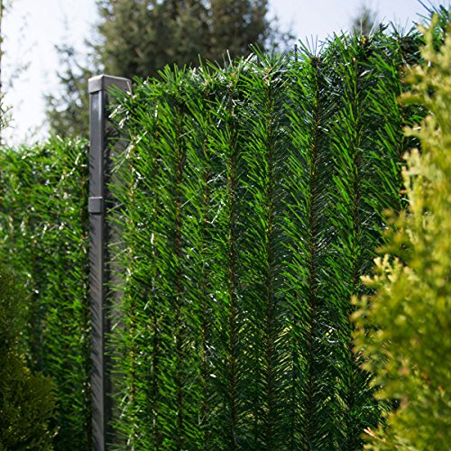 FairyTrees Sichtschutz Garten Zaunblende, GreenFences Hecke,Kiefernoptik Dunkelgrün, PVC, Höhe 180cm, 2m