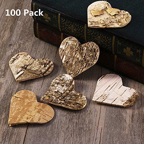 Unomor 100 Stück Holzherzen Deko Birkenherzen zum Basteln 60mm hölzerne Scheiben für Deko Hochzeit Weihnachten Valentinstag