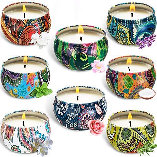 McNory Duftkerze Geschenk Set,8 Stück Vanille, Lavendel Aroma Kerzen Reisekerzen für Frauen, Sojakerzen 100-120 Brennstunden für Yoga, Aromatherapie, Stressabbau, Valentinstag, Geburtstag, Weihnachten