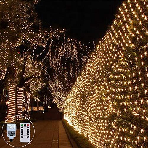 LED Lichternetz 3X2M 200LED Lichterkette Außen Weihnachten Lichterkette Verknüpfbar mit Fernbedienung & Timer 8 Modi für Innen Party Baum Garten Deko, (Warmweiß)