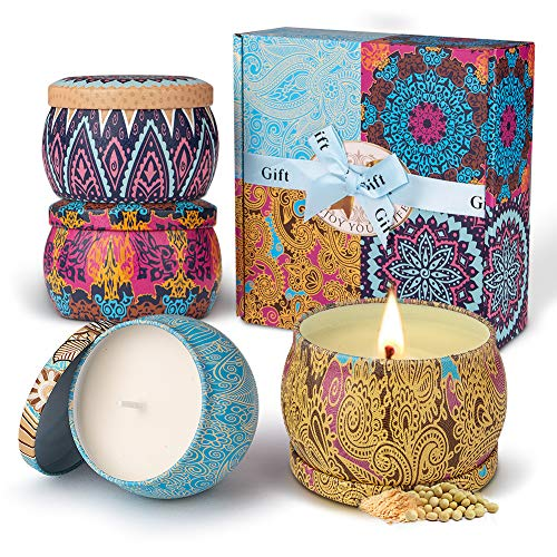 Duftkerze Set Aroma Kerzen 4 Stück Geschenkset, 100% Natürliches Sojawachs Kerze von Frühling frisch, Zitrone, Lavendel und Feigen Düfte, für Bad Geburtstag Yoga Jahrestag und Damen Geschenke