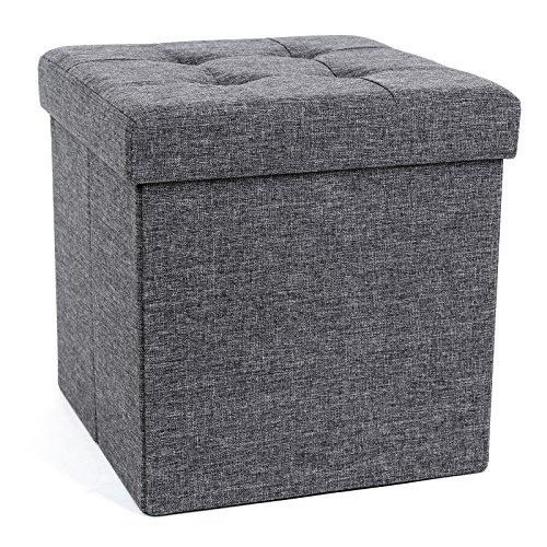 SONGMICS Sitzhocker mit Stauraum, Sitzwürfel mit Deckel, Sitztruhe, Aufbewahrungsbox, faltbar, max. statische Belastbarkeit 300 kg, 40 L, 38 x 38 x 38 cm, Leinenimitat, dunkelgrau LSF27Z