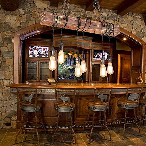 Hauptbeleuchtung E27 Pendelleuchte Vintage Kronleuchter Retro Kronleuchter Aus Holz Und Metall HöhenverstellbareIndustrielle Hängelampe Hängelampe Schwarz Für Esszimmer Wohnzimmer Küche Cafe Ceilin