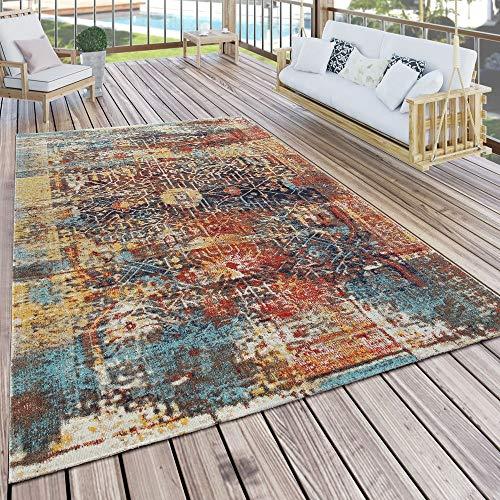 Paco Home In- & Outdoor Teppich Modern Nomaden Design Terrassen Teppich Wetterfest Bunt, Grösse:200x280 cm