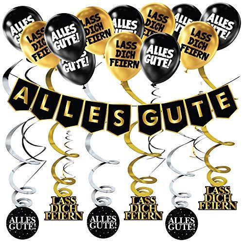 Geburtstags-Banner Schwarz Gold Party Dekoration 18. 30. 40. 50. 60. Geburtstag, Girlande Luftballons Banner Set, Party-Zubehör für Jungen und Mädchen, Runder Geburtstag, Anlässe zum Feiern