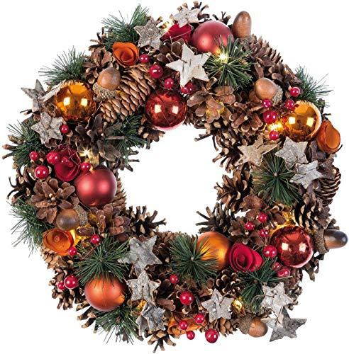 Idena 8585271 - Weihnachtskranz mit 10 LED warm weiß, mit 6 Stunden Timer Funktion, Batterie betrieben, für Deko, Weihnachten, Advent, als Stimmungslicht, Türkranz, ca. 28 cm
