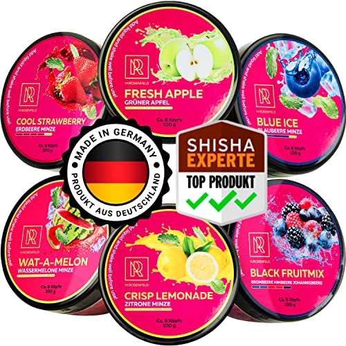 M. ROSENFELD Shisha Steine Nikotinfrei - [6x Shisha Dampfsteine] Made in GERMANY Nikotinfreier Shisha Tabak Ersatz. Grüner Apfel Erdbeere Ice Wassermelone Zitrone Minze Blaubeere Beerenmix