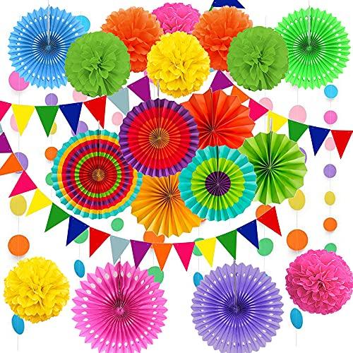 Cojoy 21 Stück Party Dekorationsset, hängende Papier fächer, pompons Blumen, Papier Wimpel und Punktekette für Geburtstag, Hochzeit, Babyparty, Fiesta Party dekoration