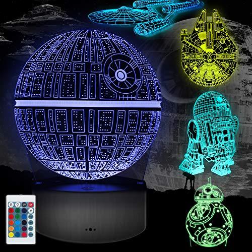 3D illusion Lampe Geschenke, 5 Stück 3D Nachtlicht 16 Farbwechsel mit Fernbedienung oder Touch, Besten Geschenke für Kinder