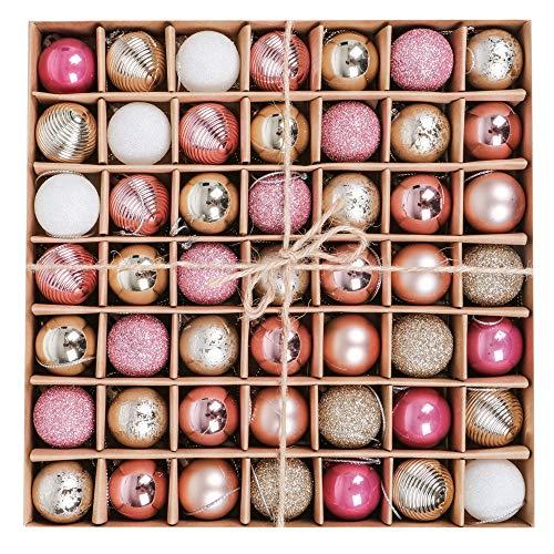 Victor's Workshop Weihnachtskugeln 49tlg. 3cm Plastik Christbaumkugeln Weihnachtsbaumschmuck Neujahr Weihnachtsdeko Frohe Weihnachten Rosa Gold MEHRWEGVERPACKUNG