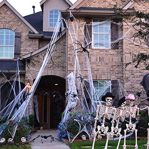 TOYMYTOY Spinnennetz Halloween Deko Spider Web Spukhaus Deko Glühen in der Nacht Spinngewebe 300gram (Weiß)