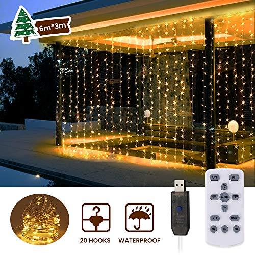 6M x 3M LED Lichtervorhang, SOLMORE 600 LEDs USB Led Lichterkette IP65 Lichterkettenvorhang mit Fernbedienung, 8 Lichtmodi, Timer, Dimmbar Deko Warmweiß für Innen Außen Weihnachten Party Hochzeit