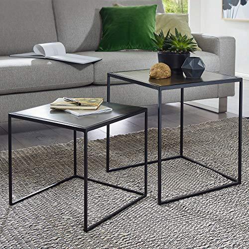 FineBuy Beistelltisch MATTI Satztisch 2er Set Gold/Silber Sofatisch Metall | Design Industrie Couchtisch eckig zweiteilig | Loft Wohnzimmertisch modern | Kleine Tische mit Metallgestell