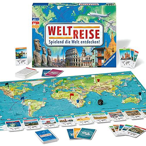 Ravensburger 26888 - Weltreise- Familienklassiker ab 8 Jahren - Gesellschaftsspiel, Reise einmal um die Welt, Reiseplanung für bis zu 6 Spieler - über 170 Städte
