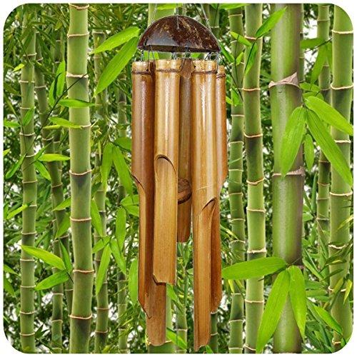 Simandra Windspiel Klangspiel Bambus Deko Mobile Klangröhren Klang-Spiel Entspannung Garten Türglocke Feng Shui 75/25 cm