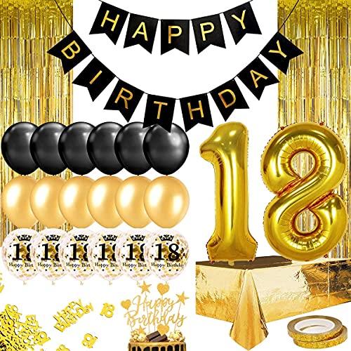 Humairc gold schwarz Geburtstagsdeko 18th Geburtstag Ballon Happy Birthday Girlande Torten Topper Tischdecke Schärpe Konfetti Party Deko (Schwarz Gold 18)