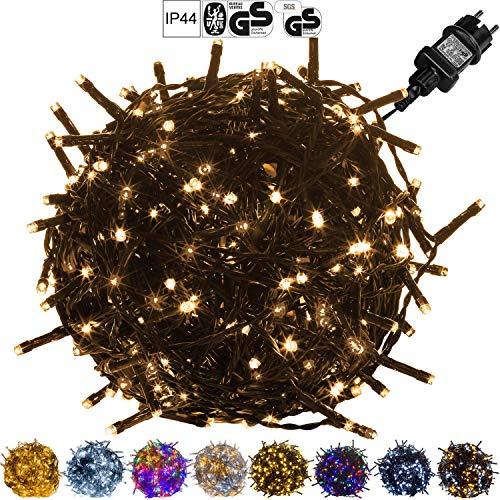 VOLTRONIC LED Lichterkette für innen und außen, Größenwahl: 50 100 200 400 600 LEDs, warmweiß/kaltweiß/bunt/warmweiß+kaltweiß, GS geprüft, IP44, optional mit 8 Leuchtmodi/Fernbedienung/Timer