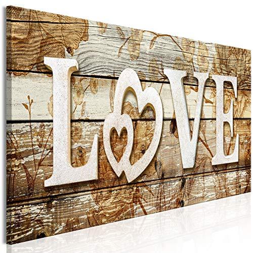 murando - Bilder Love 120x40 cm Vlies Leinwandbild 1 TLG Kunstdruck modern Wandbilder XXL Wanddekoration Design Wand Bild - Love Herz Home Holzoptik m-C-0400-b-a