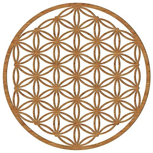 Blume des Lebens Holz 39/49 cm Wand-Bild-Dekoration Spirituelles Symbol Esoterik Geschenk Heilige Geometrie Wanddeko Holzdeko braun Bild Feng Shui