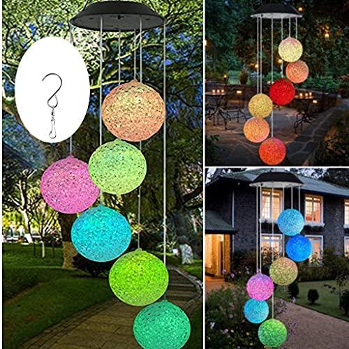Solar LED Mobile Windspiel Farbwechsel Solarleuchten Solarbetriebene Mobile Windspiele Licht für Gartendeko für Terrasse Deck Hof Rasen Hinterhöfe Wege Garten Deko